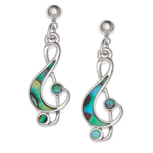 Treble Clef Paua Earrings by Tide Jewellery