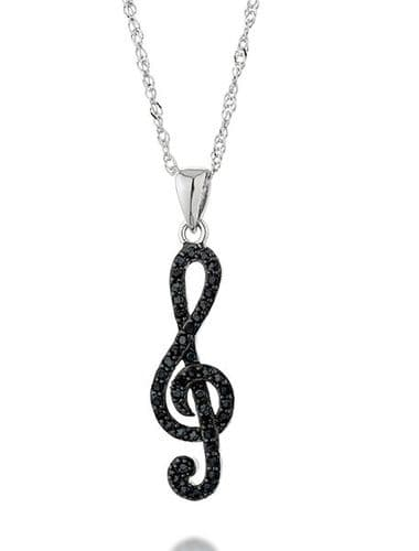 Treble Clef Pendant in Sterling Silver with Black Crystals