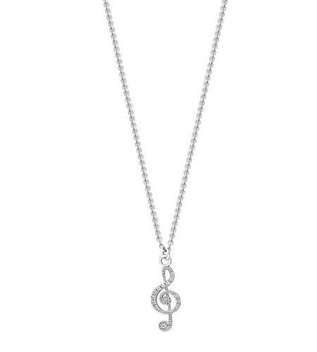 Treble Clef Rhodium Silver Necklace with CZ decoration