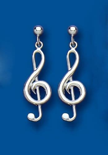 Treble Clef Sterling Silver Earrings