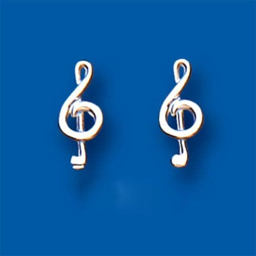 Treble Clef Sterling Silver Stud Earrings