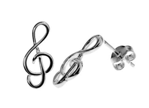Treble Clef Sterling Silver Stud Earrings by KMD