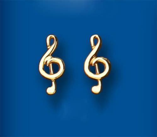 Treble Clef Stud Earrings 9ct Gold