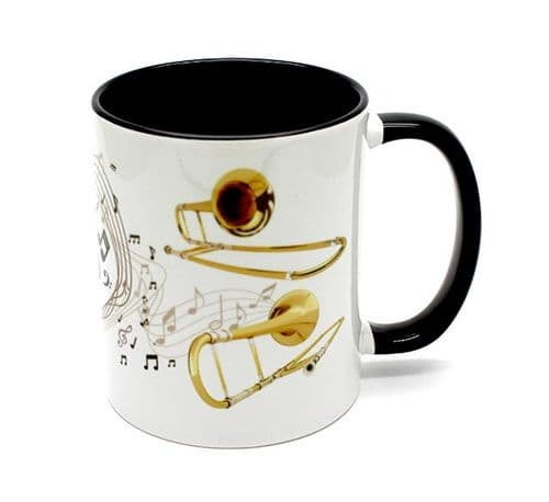 Trombone Treble Clef Mug with Black Handle Etc.