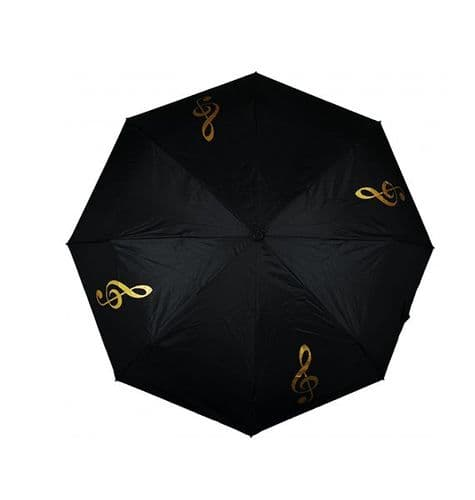 Umbrella - Compact - Gold Treble Clef by AGR
