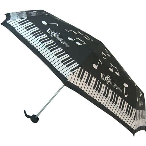 Umbrella - Compact - Music Notes & Keyboard by Soake