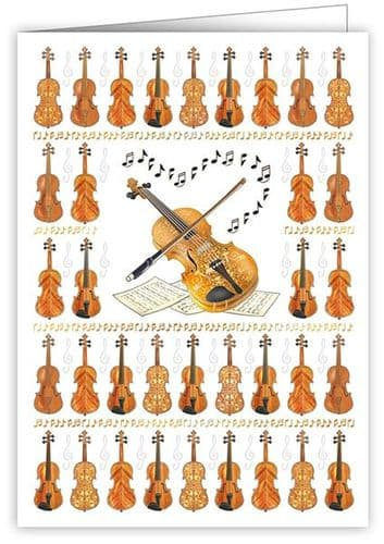 Violin Greetings Card by Quire