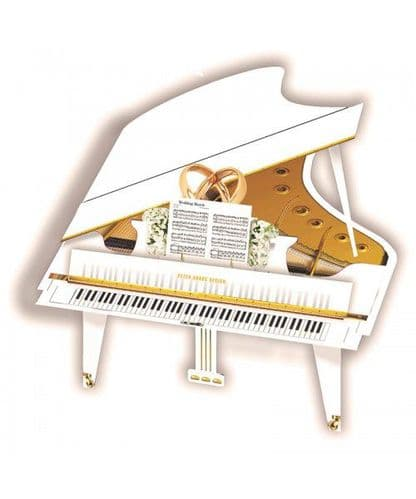White Grand Piano 3D Card by MGC