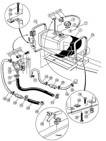 Club Car, Fuel tube & fitting assembly, 1987-91