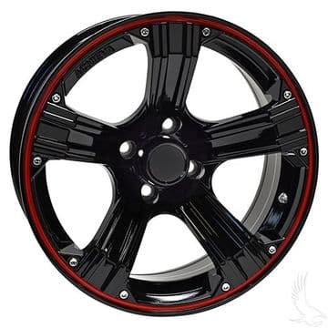 AR658, Gloss Black with Red, 15 x 6 ET -25