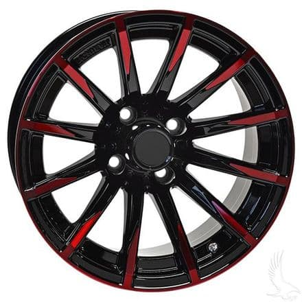 AR712, Gloss Black with Red, 12x7 ET -25