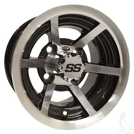 ITP SS6 6 Spoke, Machined w/Black w/ Center Cap, 10x7, 3x4 offset