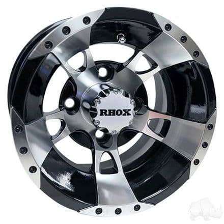 RHOX RX190, Machined w/Black w/ Center Cap, 10x7 ET-25