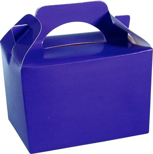 Purple Party Boxes - Food Lunch Cardboard Party Bag Toys