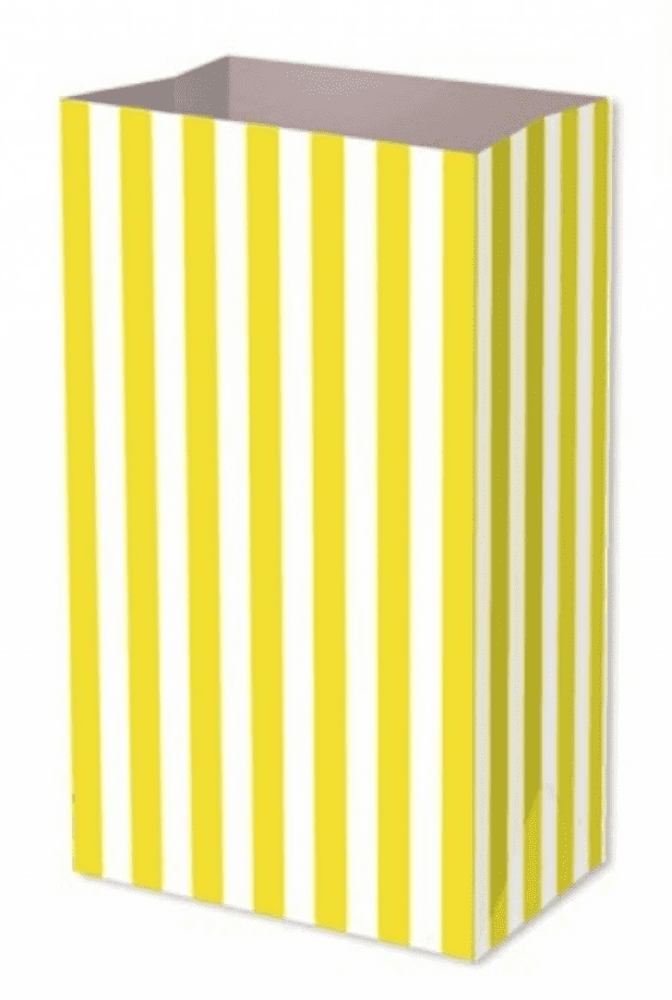 Yellow Candy Stripe Food Party Bag