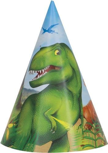 Dinosaur Party Paper Party Hats 1 pk of 8