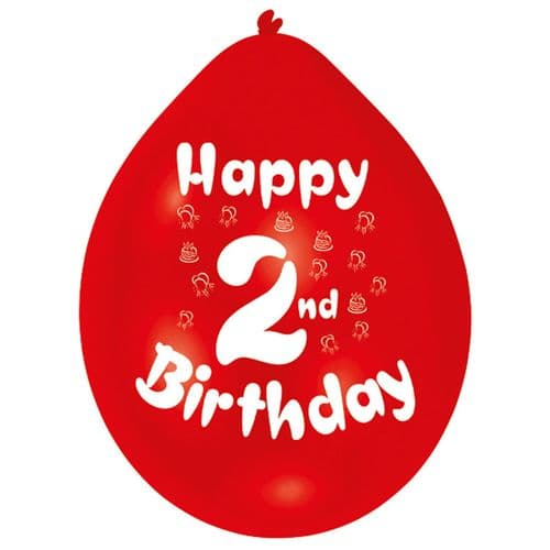 Happy 2nd Birthday Balloons 22cm (1 pack of 10) Assorted Colours