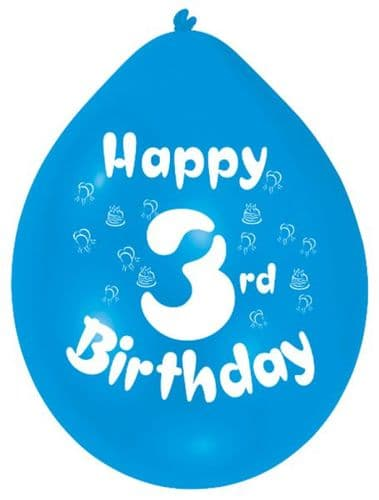 Happy 3rd Birthday Balloons 22cm (1 pack of 10) Assorted Colours
