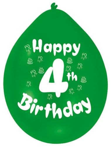 Happy 4th Birthday Balloons 22cm (1 pack of 10) Assorted Colours