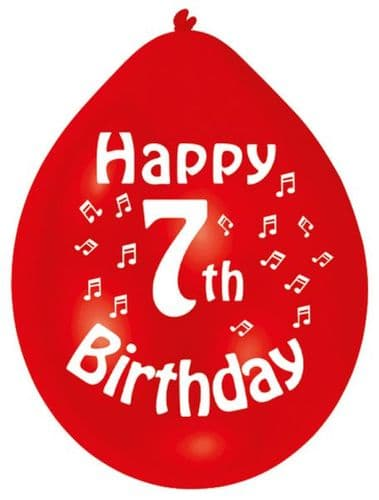 Happy 7th Birthday Balloons 22cm (1 pack of 10) Assorted Colours