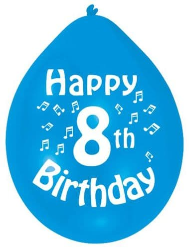 Happy 8th Birthday Balloons 22cm (1 pack of 10) Assorted Colours
