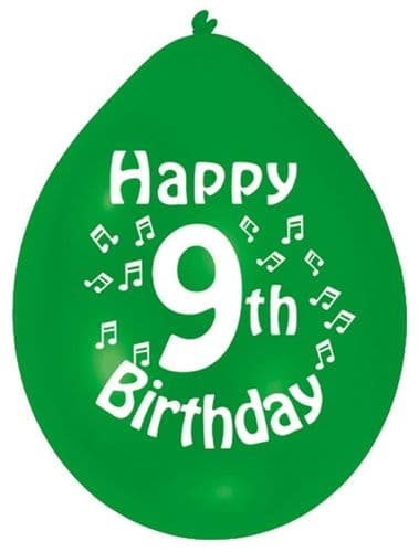 Happy 9th Birthday Balloons 22cm (1 pack of 10) Assorted Colours