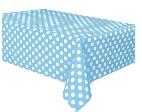 "Powder Blue Polka Dot Table Cover 54"" x 108"""