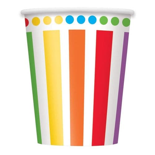 Rainbow Stripe Paper Cups 9oz 8 Pk Party