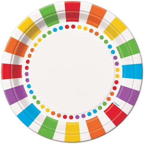 "Rainbow Stripe Paper Plates 9"" 8 Pk Party"