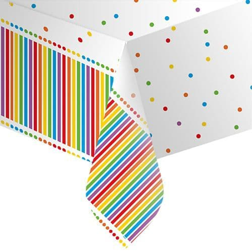 "Rainbow Stripe Tablecover 54""x 84"" Party"