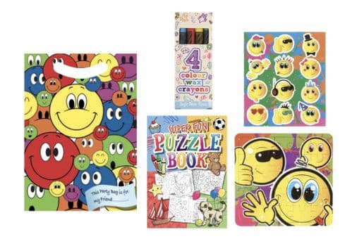 Unisex Pre Filled Party Bag Smiley -  Includes 4 items