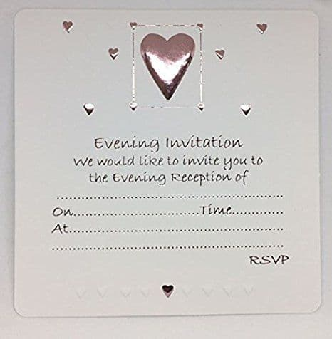 Wedding Evening Silver Embossed Heart Design Invites with Envelopes (1 pack of 10)