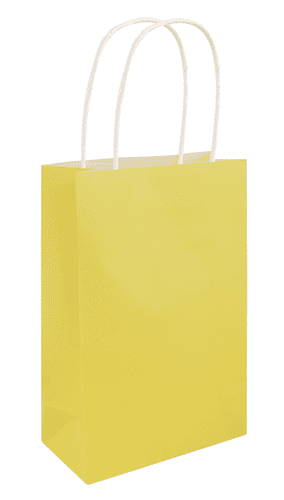 Yellow Paper Bag with Handles 14cm x21cm x7cm