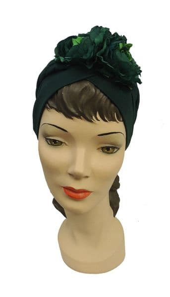 1940s style Dark Green with Green  Flowers