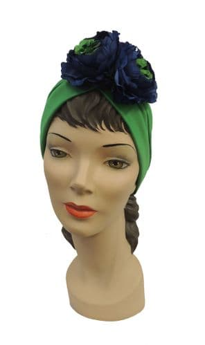 1940s style Green Turban with Blue  Flower