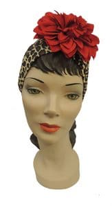 1940s style Leopard Turban with Red Flower