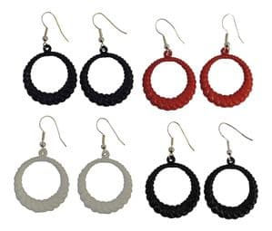 4 Pairs of round plastic Hoop Earrings