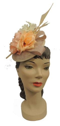 Beige and Peach Flower Feather Hat Fascinator Races Wedding