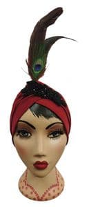 Deep Red Vintage style 1920s style Art Deco Turban