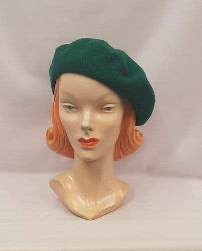 Forrest Green 100% Pure New Wool Timeless Classic 1930's 1940's Vintage style Beret