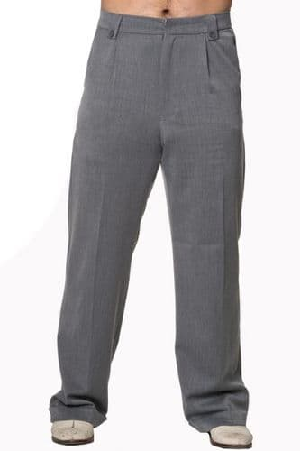 Mens 1930's 40s Vintage Style Grey Trousers