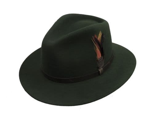 Moss Green   Pure Wool  1940s  Vintage Style Mens  Large Brim  Fedora Hat