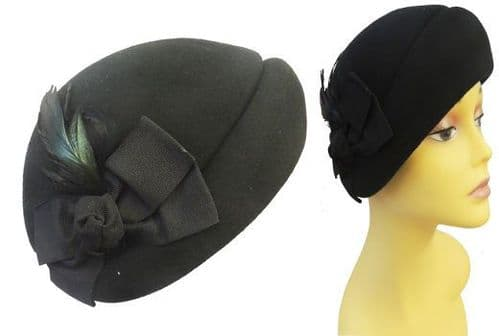 New Black Vtg style 1940's 50's Classic Crown Cloche  Hat  with feather and Bow