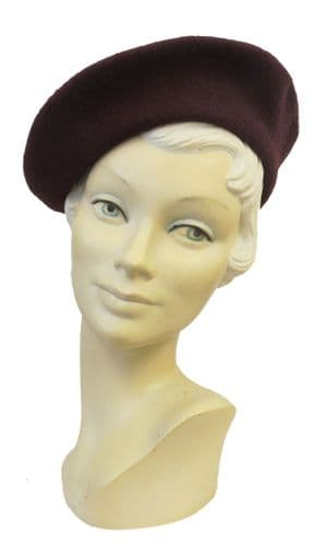 New Burgundy  Classic Vintage 1940's style Beret Hat (7)