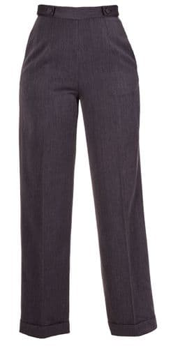 New Grey  Vtg WWII Wartime 1940s Style Wide Leg High Waist Swing Trousers