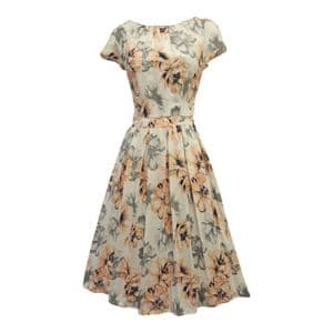 New Ivory Peach Floral WWII 1930's 40's Vtg style Swing Tea Dress - 372246375363