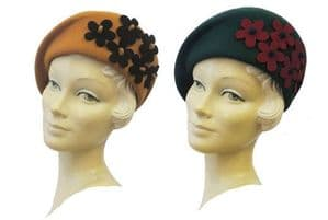 New Ladies VTG 1930's 40's Landgirl WW2 Wartime Felt Flower Cloche Hat