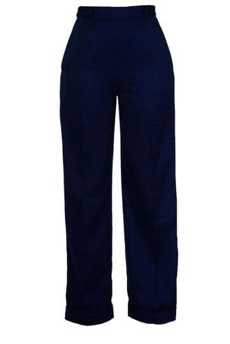 New Navy Blue  Vtg WWII Wartime 1940s Style Wide Leg High Waist Swing Trousers