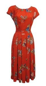 New Red Blue Floral Wartime WW2 1930's 1940's Vintage style Swing Tea Dress
