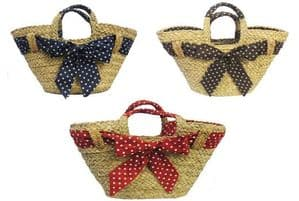 New Retro 1940's 50's style Polka Dot Straw Beach Picnic Shopping Basket Bag